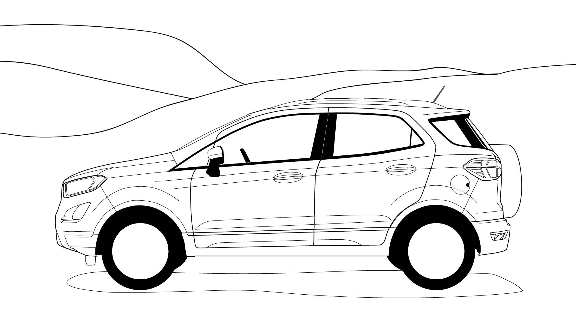 Ford Stay Home EcoSport colouring in poster