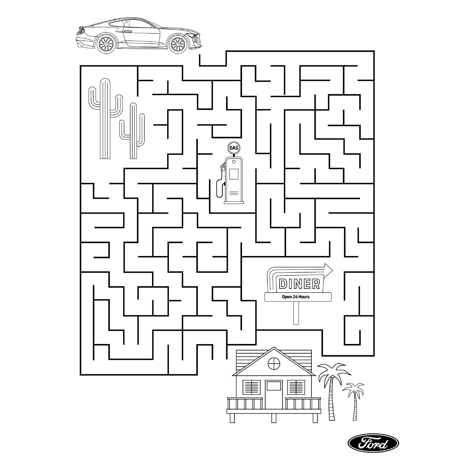 Ford Stay Home maze puzzle special Mustang edition