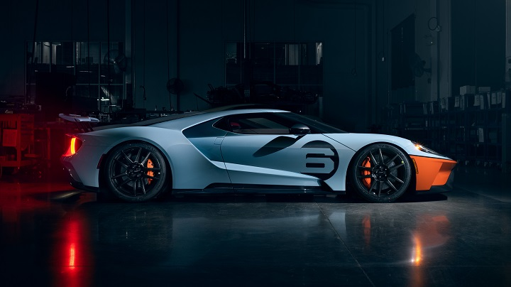 2020 ford gt heritage with racing livery side profile