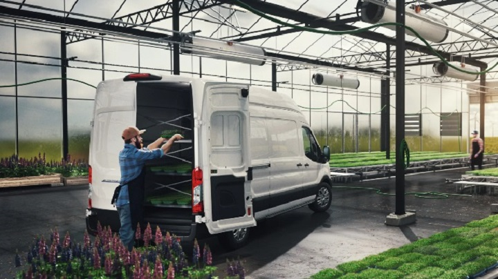 Plant business owner loading New E-Transit