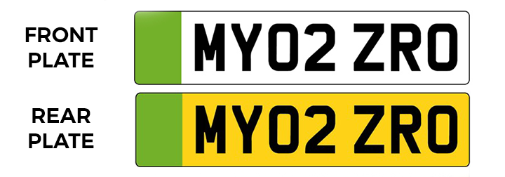 New number plates with green flash on left-hand side