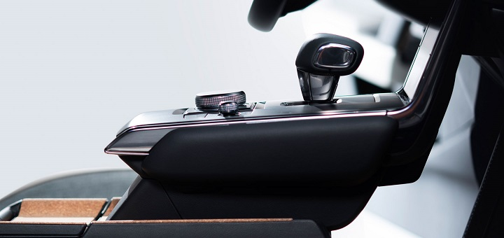 Mazda MX-30 floating centre console with gearshift and handcrafted cork tray.
