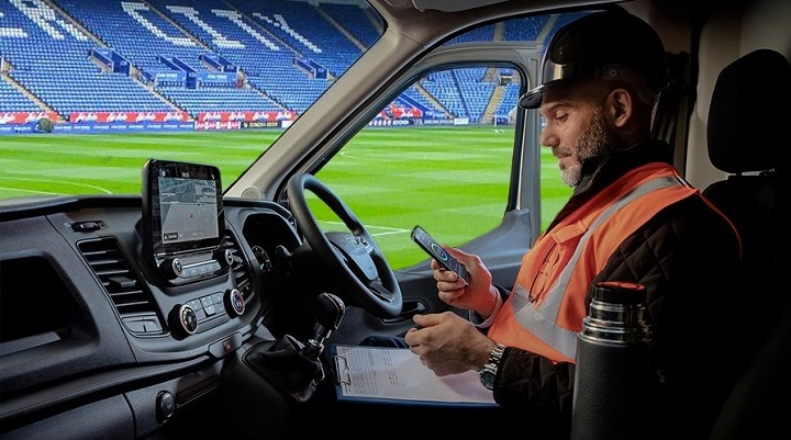 Ford Van inside King Power Stadium