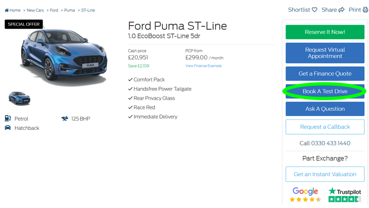 Image showing where to click when booking a test drive