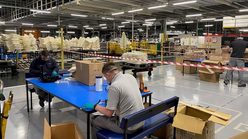 Inside the Sunderland factory workers are packing deliveries