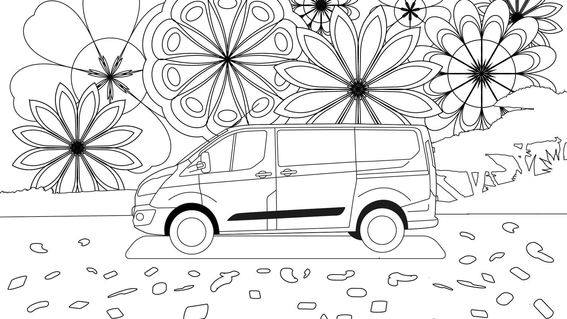 Ford Stay Home Transit colouring in poster