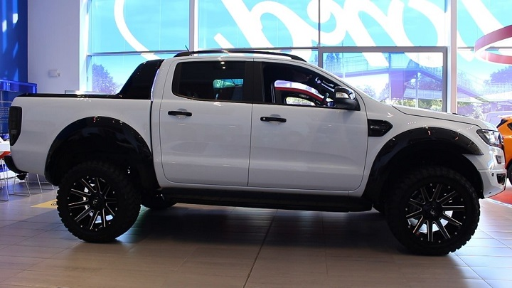 Custom Ford Ranger FUEL Edition in White side exterior profile shot