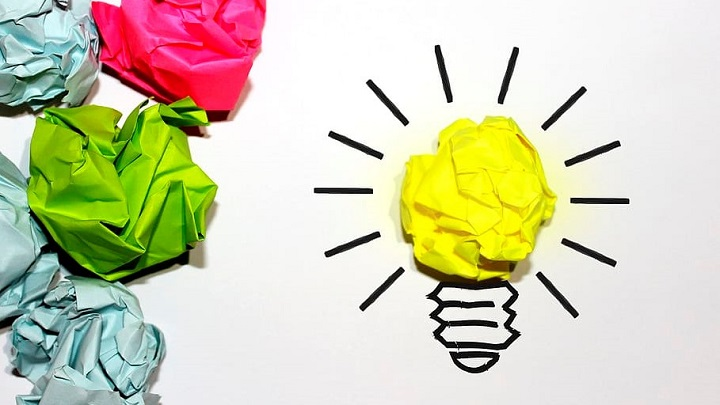 creative lightbulb idea graphic with scrunched paper