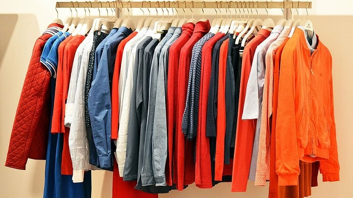 clothing rail with smart casual clothes