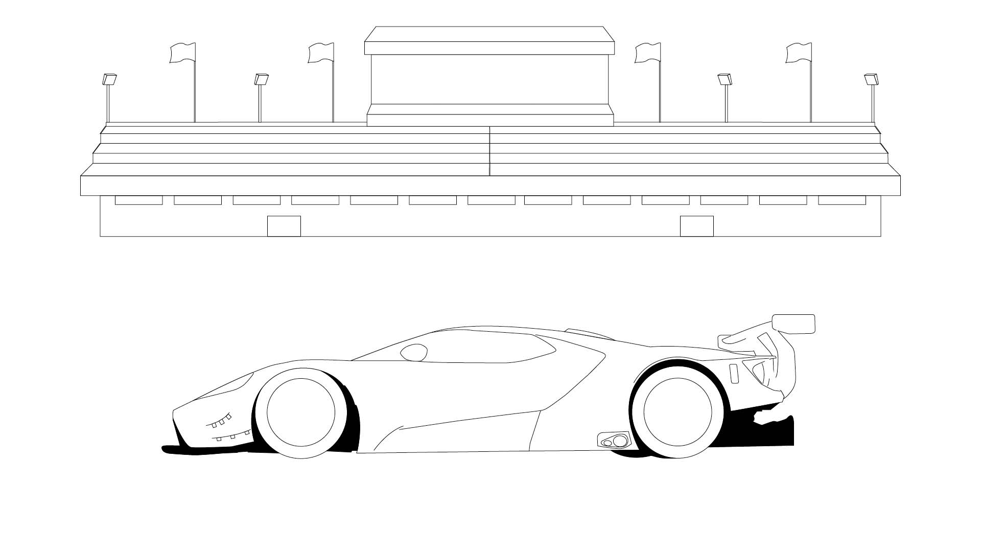 Ford Stay Home GT colouring in poster