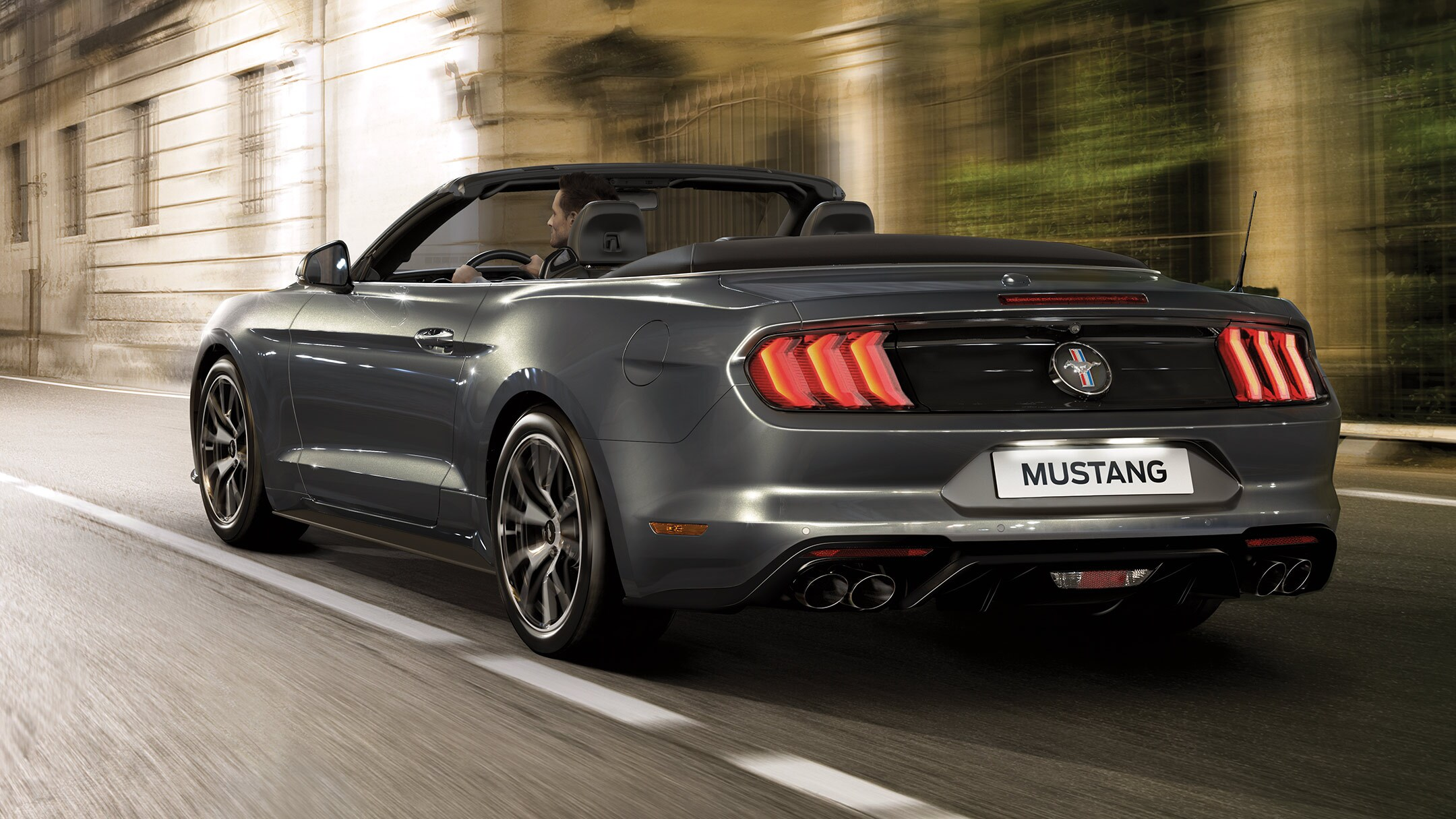 New Ford Mustang Convertible EcoBoost driving under tunnel