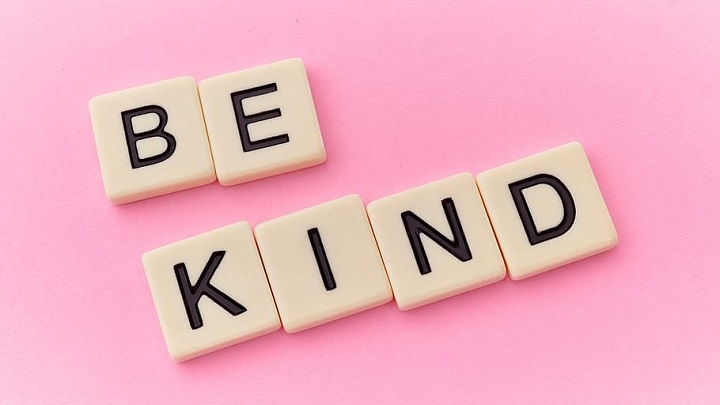 BE KIND in scrabble style squares