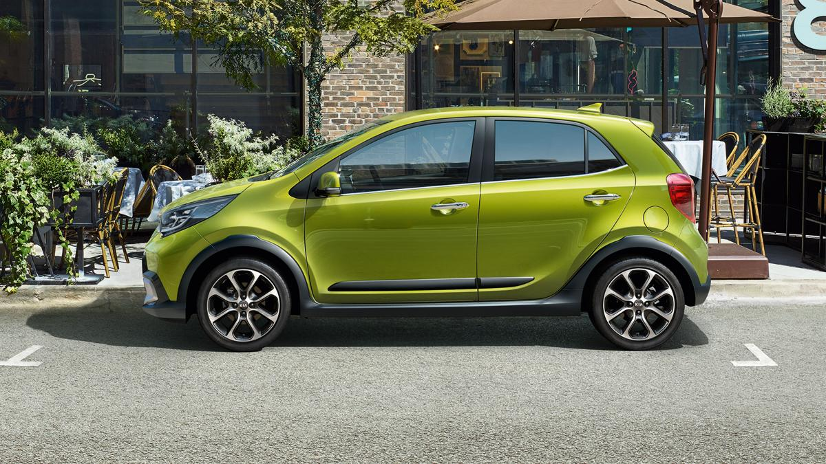 Kia Picanto 2020 X Line exterior updates side-view with new alloys in Lime Green