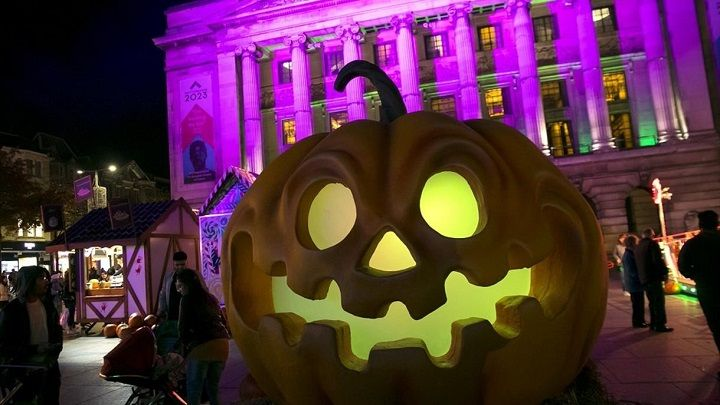 Halloween pumpkin at the Old Market Square in Nottingham
