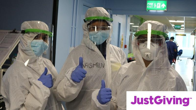 NHS staff wear protective face visors to shield from Coronavirus
