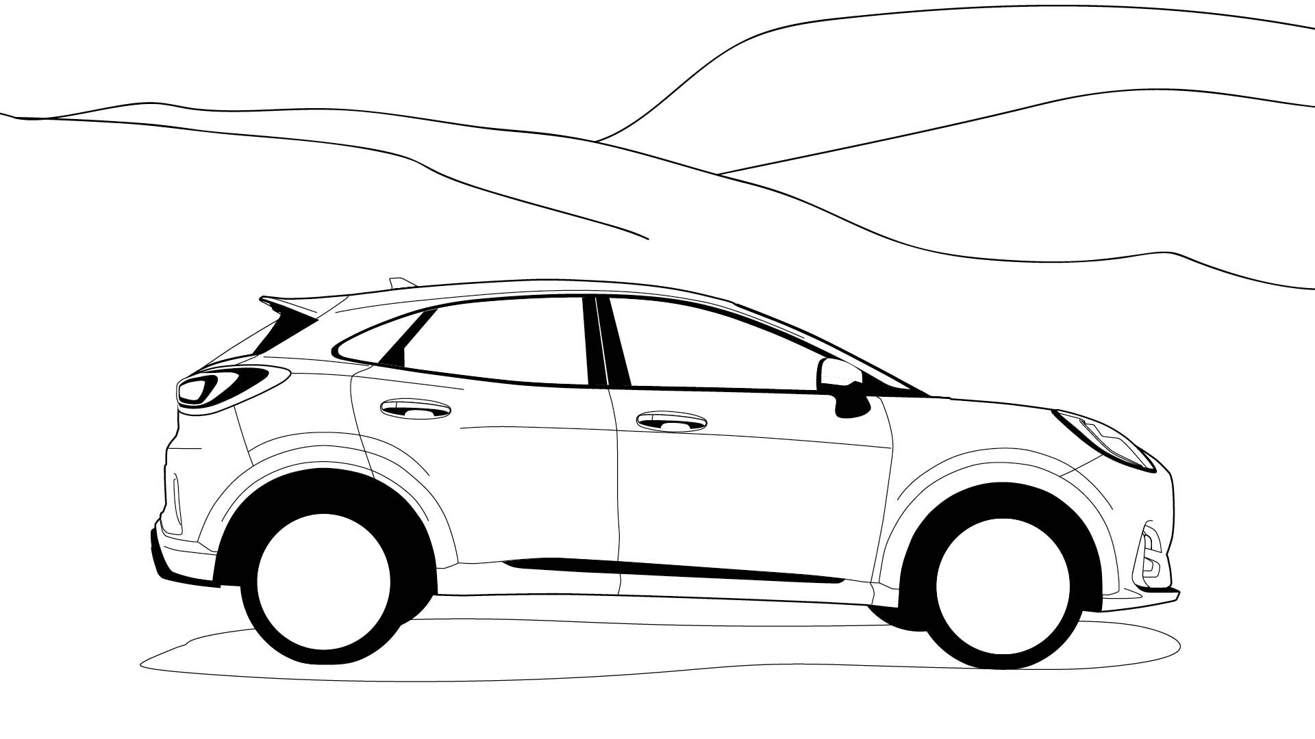 Ford Stay Home Puma colouring in poster