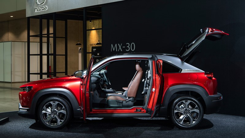 Soul Red MX-30 Hybrid with suicide doors and boot lid open