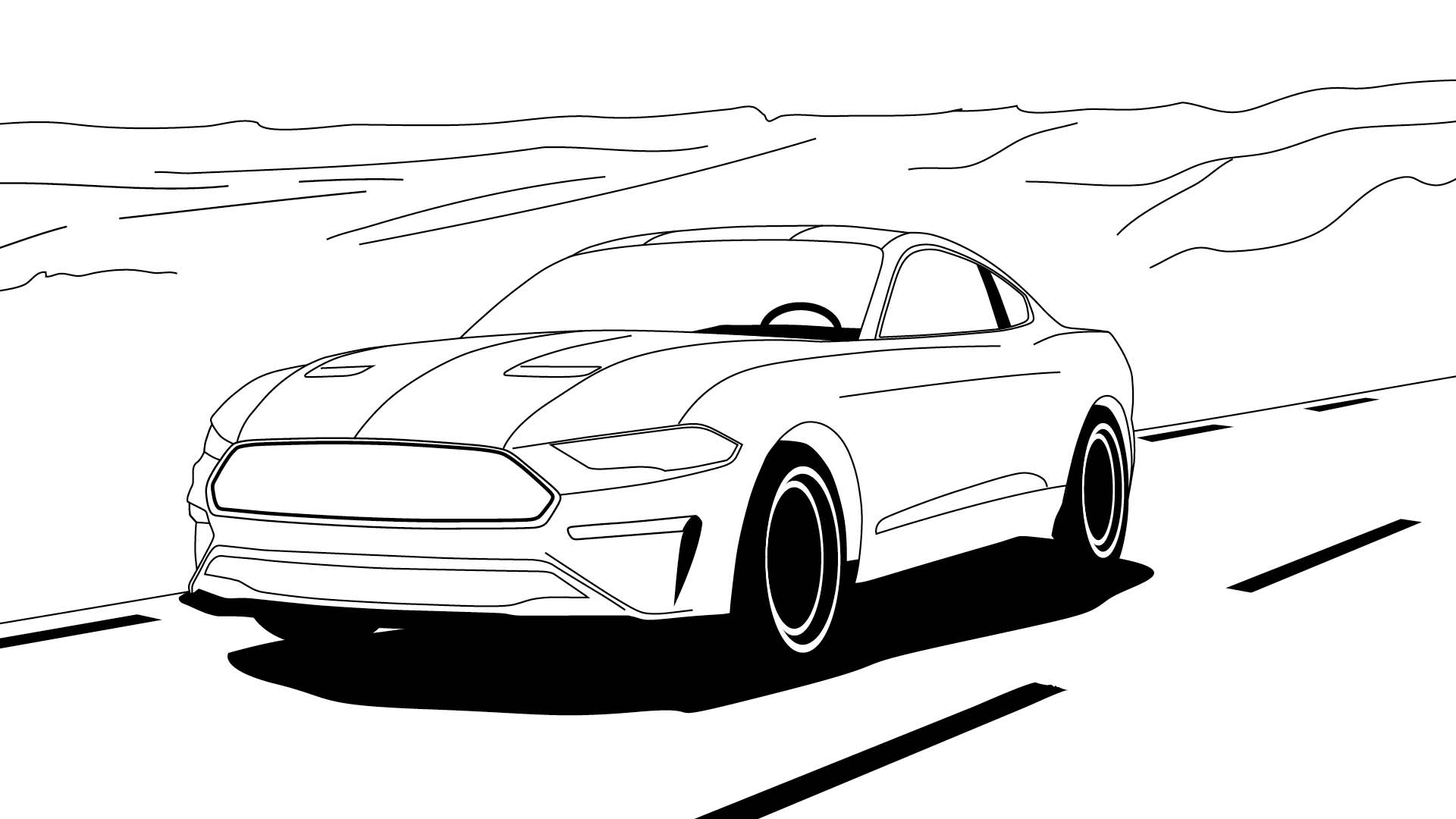 Ford Stay Home Mustang colouring in poster