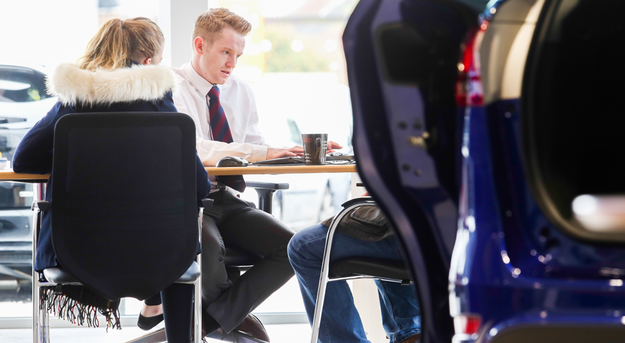 Member of our team at the Nottingham dealership advising on PCP