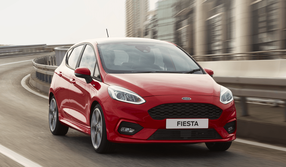 Red Ford Fiesta ST-Line Driving Front View