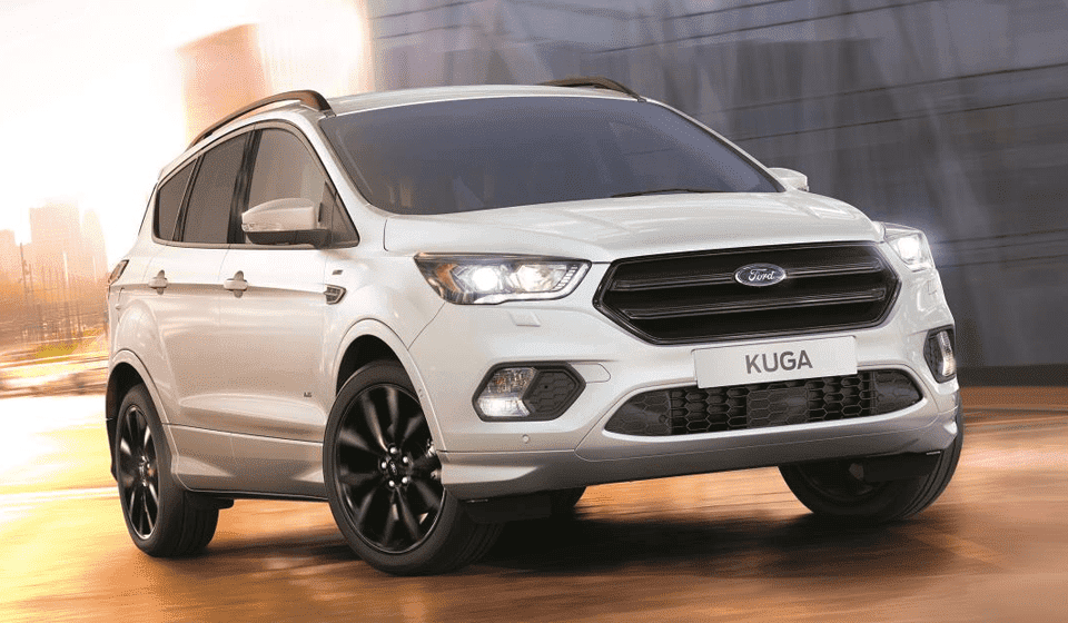 White Ford Kuga ST-Line Driving Front View