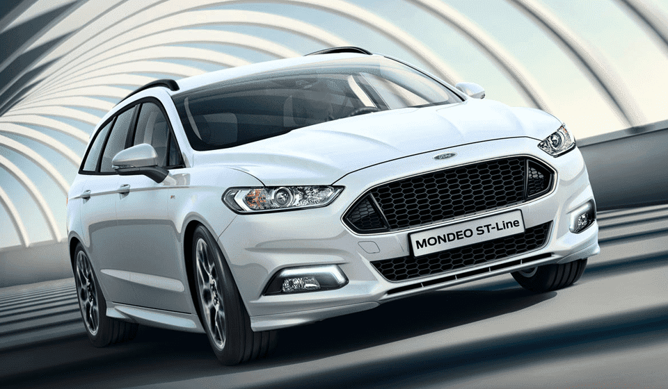 White Ford Mondeo ST-Line Driving Front View