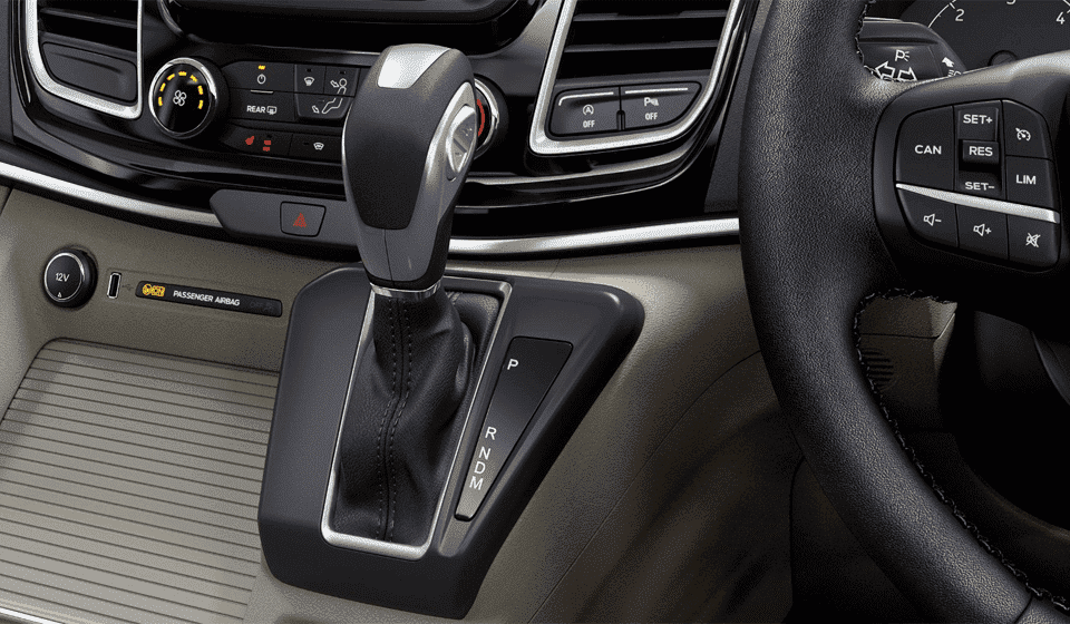 Close-up of New Ford Tourneo shift gear