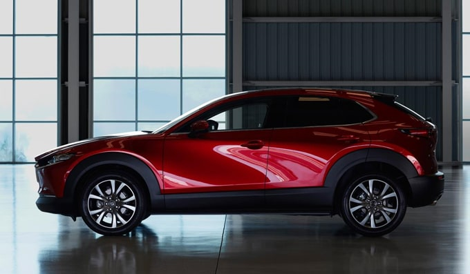 2020 Mazda CX-30 side profile exterior shot parked.