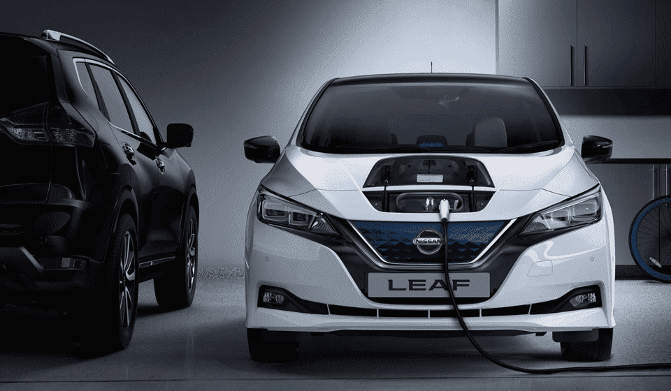 Nissan Leaf on charge in a garage