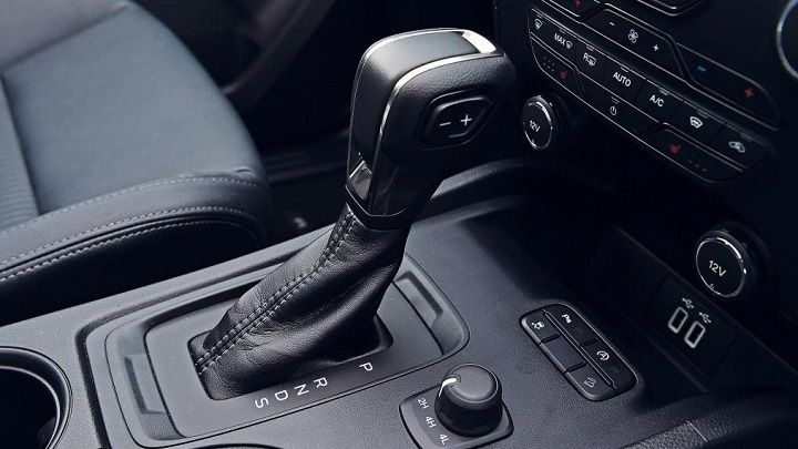 Ford Ranger interior shot of automatic gearshift and centre console