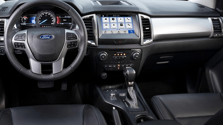 Ford Ranger Limited 2.0 interior shot of dashboard, steering wheel, SYNC3 infotainment, centre console and gearshift.