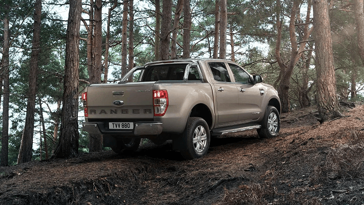 Ford Ranger Limited 2.0 parked on mud track in woods